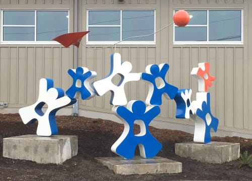 Public Sculptures by CJRDesign at Community Center, Protivin - Happiness Found