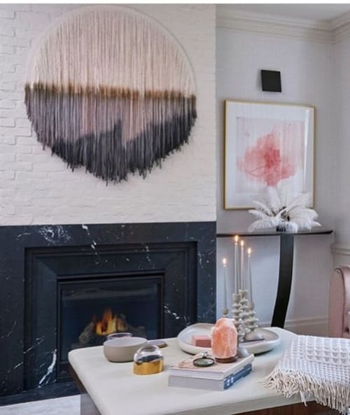 "Wall Hangings by Lauren Williams seen at Private Residence, Toronto - Circular Tapestry ""I Want It All"""