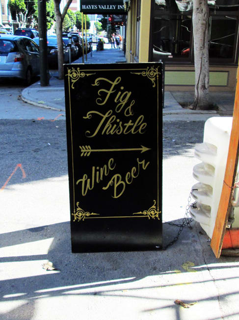 Signage by Gentleman Scholar Signs seen at Fig & Thistle, San Francisco - Sandwich Board