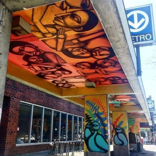 Street Murals by Felix Labrona seen at Jarry Metro, Montreal - Jarry Metro Mural