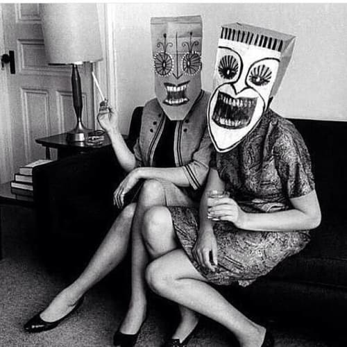 Photography by Inge Morath seen at Petit Ermitage, West Hollywood - Photograph from the Mask Series with Saul Steinberg