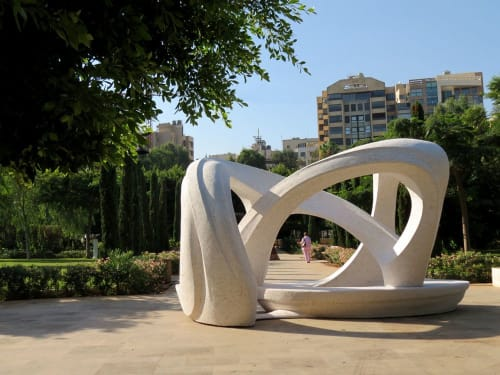 Public Sculptures by Nabil Helou seen at University of Balamand, Koura Campus - Bench Sculpture
