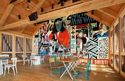 Murals by Faile seen at Drake Devonshire, Prince Edward - Pavillion Mural