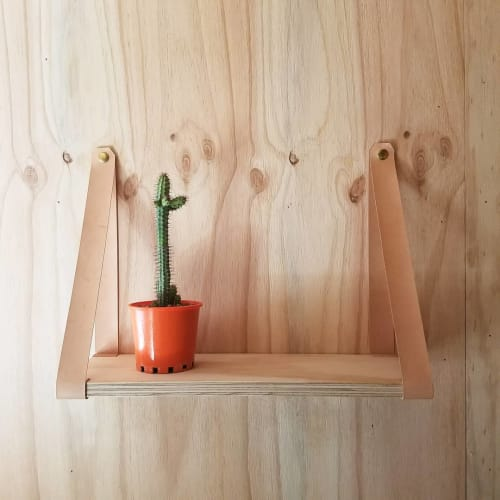 Furniture by Oak & Hide seen at Private Residence, Brisbane - Leather Strap Shelf