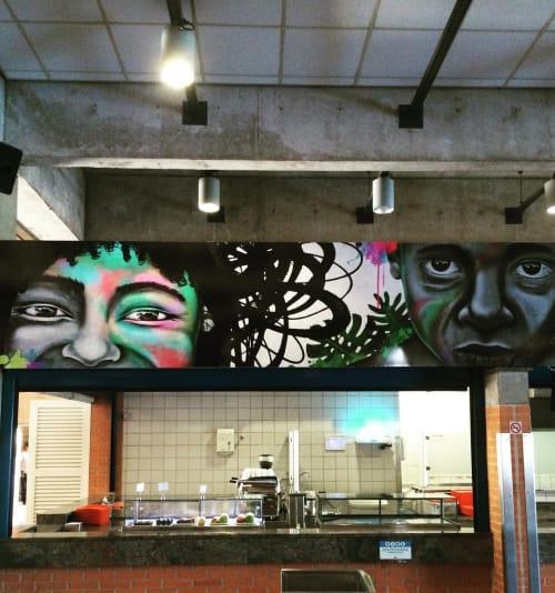 Murals by Aracê seen at Sesc Araraquara, Quitandinha - Filhos de Pindorama