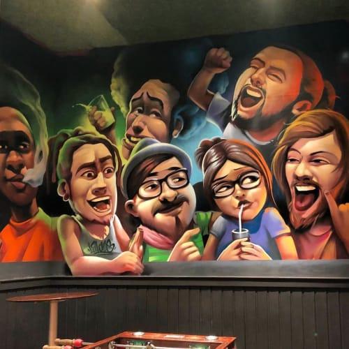 Murals by Lalone seen at La Garrapata, Málaga - Bar La Garrapata