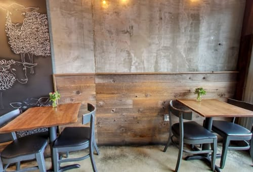 Wall Treatments by Heritage Salvage seen at Mission Cheese, San Francisco - Barn Wood Paneled Wall
