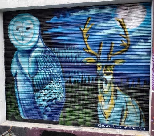Murals by Drake Arnold seen at URBAN SOCCER FIVE, Miami - Owl and Deer Mural