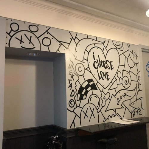 Murals by Hektad Official seen at Sliced by Harlem Pizza Co, New York - Graffiti Mural