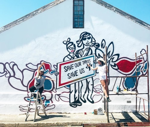 Street Murals by Anthea Missy seen at 2 Tennyson St, Cape Town - Save or Trees, Save Us
