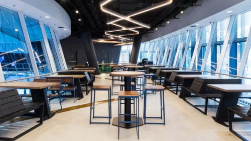Furniture by Uhuru Design seen at Shake Shack - Fulton Transit Center, New York - Tables, Chairs, and Banquettes