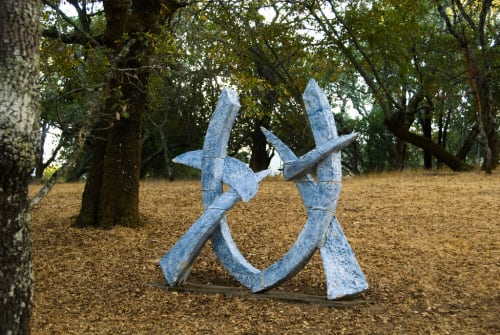Public Sculptures by Sam Perry seen at Runnymede Sculpture Farm, Woodside - Blue Gate, Leaning Ring, and Two Arms Akimbo