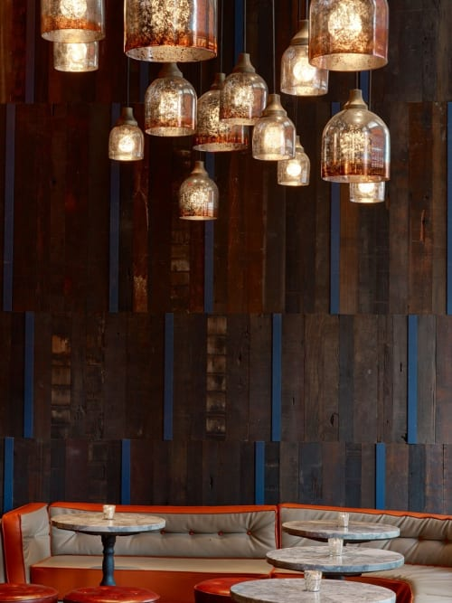 Wall Treatments by Cider Press Woodworks seen at GATO, New York - Ceiling and Wall paneling