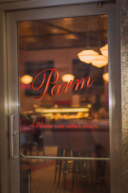 Signage by Lesley Johnson at Parm Battery Park City, New York - Parm Characters and Signs