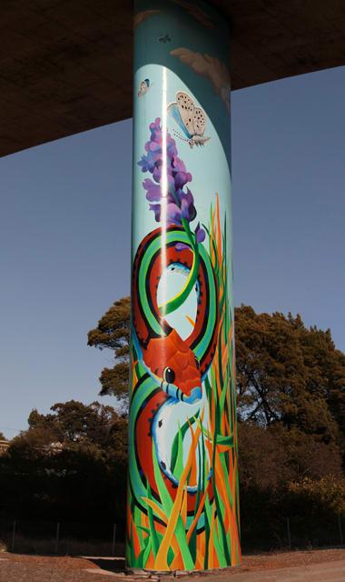 Street Murals by Cory Ferris seen at San Bruno Avenue, Portola, San Francisco - Garter Snake
