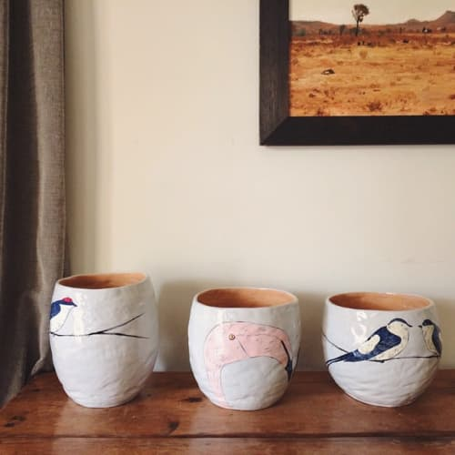 Cups by Gemma Orkin Handmade Ceramics seen at Private Residence, Cape Town - Bird Ceramic Ware