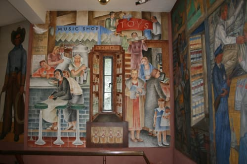 Murals by Frede Vidar seen at Coit Tower, San Francisco - Department Store