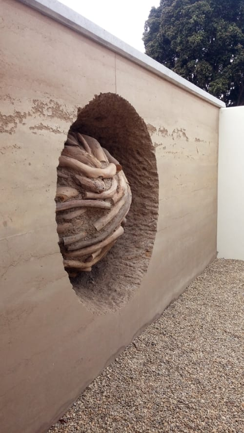 Sculptures by Andy Goldsworthy seen at Presidio Officers' Club, San Francisco - Earth Wall