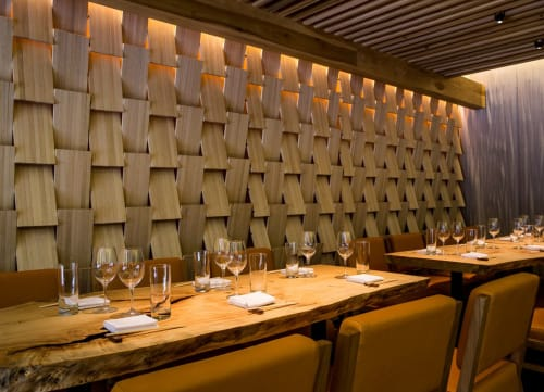 Wall Treatments by Arcanum Architecture seen at Roka Akor San Francisco, San Francisco - Private Dining Wood Walls