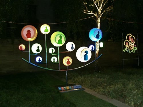 """Sculptures by Zach Taljaard seen at Anglo American, Johannesburg - """"Bubble people"""""""