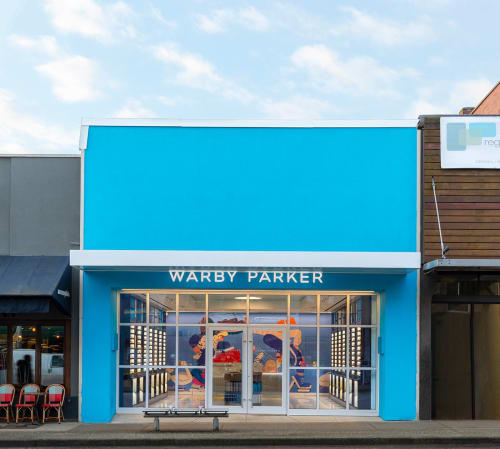 Murals by Sebastian Curi seen at Warby Parker Vancouver, Vancouver - Warby Parker Mural