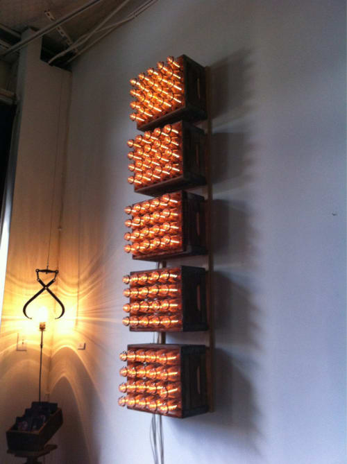 Lighting by Afterglow Studio seen at Umami Burger, Los Angeles - Milk Bottle Mounted Lights