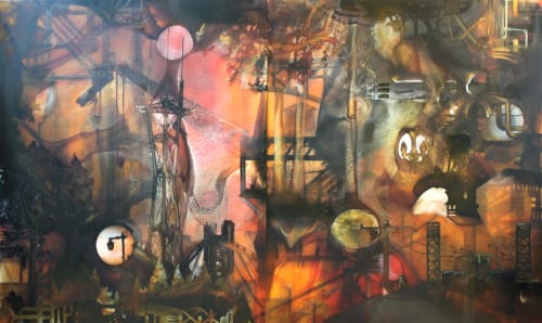 Murals by David Burke seen at Coffee Cultures SOMA, San Francisco - Fractured Landscape