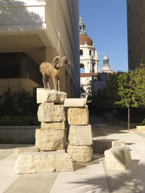 Sculptures by Gwynn Murill seen at The Montana, Pasadena - Bighorn Fountain
