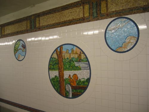 Public Mosaics by Tim Snell seen at 8th Street - NYU Station, New York - Broadway Diary