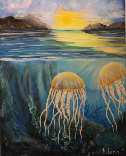 Paintings by Helena Faitelson seen at Creator's Studio, San Diego - Jellyfishes