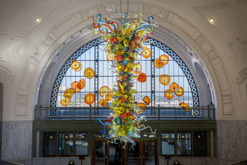 Sculptures by Dale Chihuly seen at Union Station, Tacoma, Tacoma - Union Station End of the Day Chandelier and Monarch Window