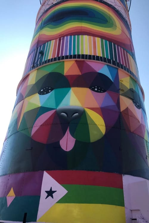 Street Murals by Okuda San Miguel seen at Third Street, Sacramento, CA, Sacramento - Multiuniverses Totem