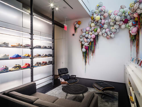 Sculptures by Tanya Aguiñiga seen at NikeLab 21M, New York - Balls to the Wall