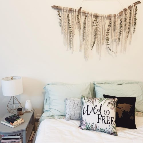 Macrame Wall Hanging by Rosie the Wanderer seen at Private Residence, Charleston - Fiber and Leaf Wall Hanging