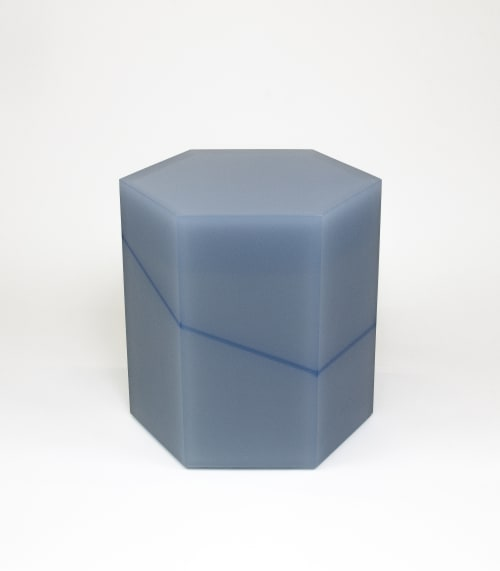 Tables by Facture Studio at Independent Lodging Congress, in the William Vale NYC, Brooklyn - Gray HexBlue Side Table