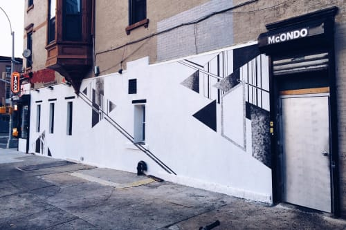 Murals by LAMKAT seen at Mcondo Los Tacos, Brooklyn - Mural on Union Ave