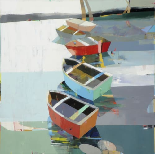 Paintings by Siddharth Parasnis seen at Zuckerberg San Francisco General Hospital and Trauma Center, San Francisco - Boats in the Shallow Water # 6
