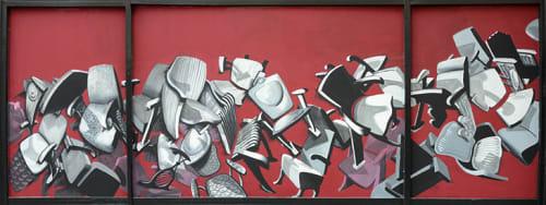 Street Murals by Rafael Landea seen at 1020 Market Street, SF, San Francisco - 20,000 Missing Seats