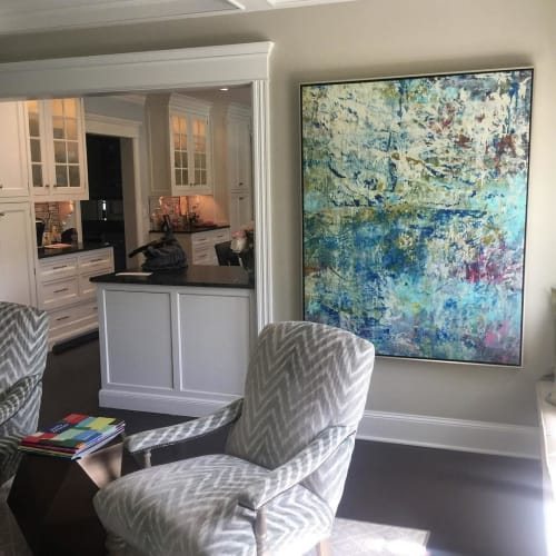 Paintings by Andrew Cotton Art 100% COTTON seen at Private Residence, New York - Multi-color Abstract Fine Art