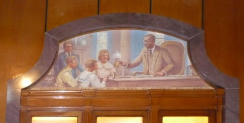 Murals by Ernest Peixotto seen at United States Postal Service - Oyster Bay, Oyster Bay - Scenes of Local History