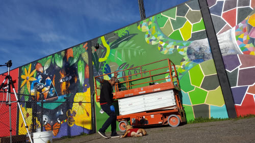 Murals by Chor Boogie seen at Cutting Edge Solutions, Santa Rosa - Birds & the Bees