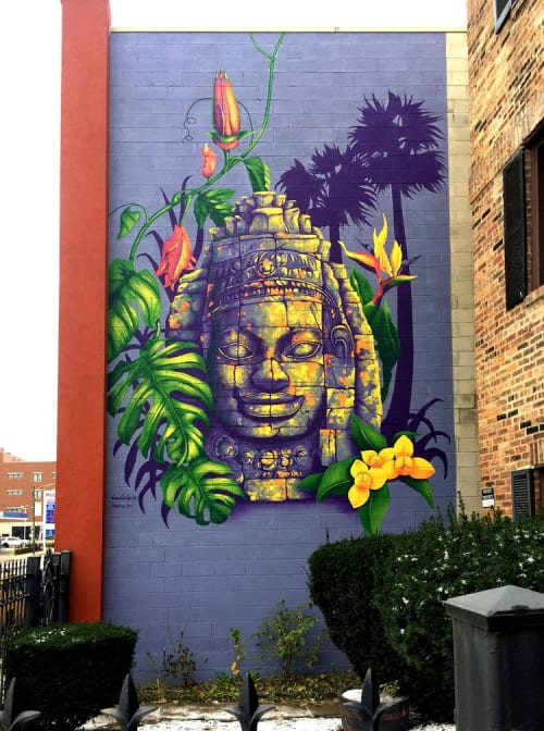 "Murals by Brandin Hurley Designs seen at Cambodian Association-Illinois, Chicago - ""Cambodian Color"""