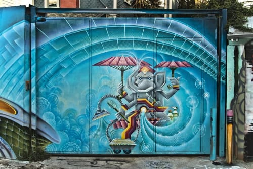 Street Murals by Xavi Panneton seen at Cypress Alley, SF, San Francisco - Cosmic Ganesha