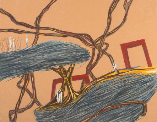 Paintings by Elvira Dayel seen at Triton Museum of Art, Santa Clara - Nested