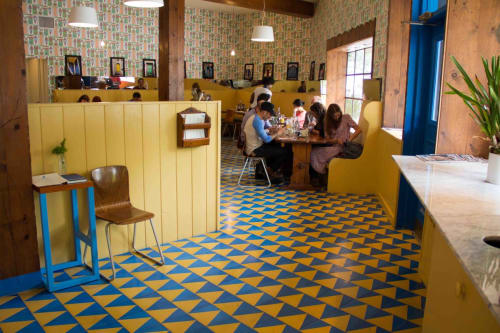 Tiles by Granada Tile seen at Beachwood Café, Los Angeles - Khufu Cement Tiles