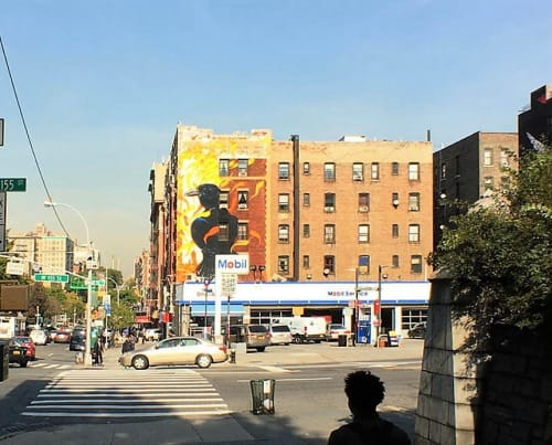 Street Murals by Hitnes seen at 3750 Broadway, New York - Fish Crow
