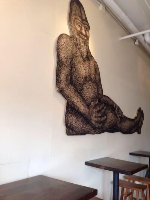 Paintings by Tara Tucker seen at Slicer Pizzeria, Oakland - Bigfoot
