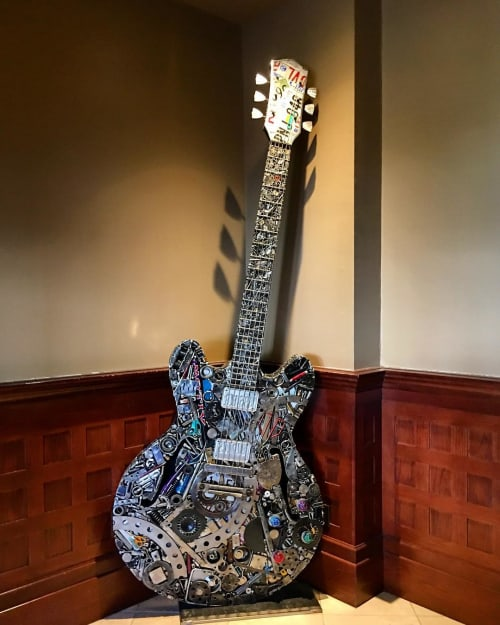 Sculptures by Brian Mock seen at Union Station Hotel Nashville, Nashville - Union Station Guitar