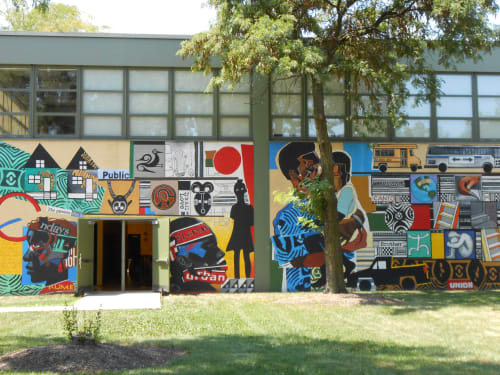 Murals by John Pitman Weber seen at Orr Academy High School, Chicago, IL, Chicago - Urban World at the Crossroads
