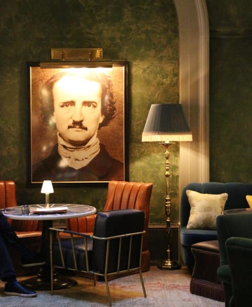 Photography by Cathy Cone seen at The Beekman, A Thompson Hotel, New York - Portrait Edgar Allen Poe